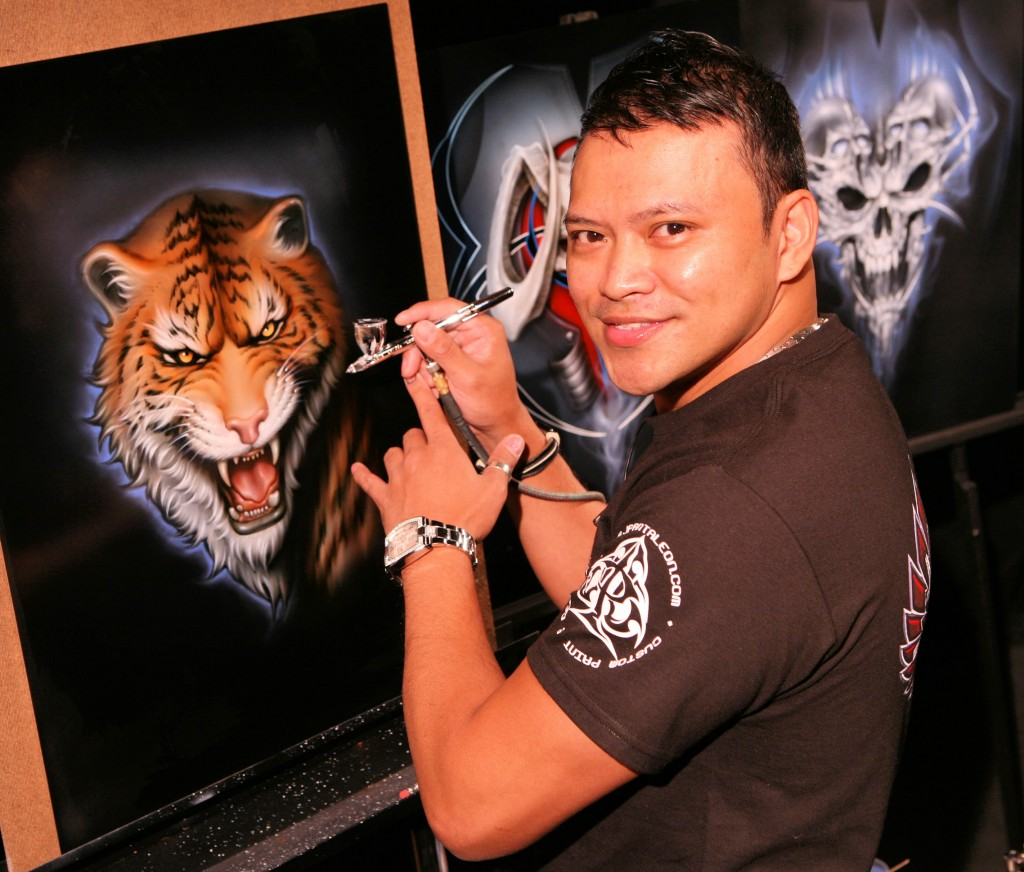 Mr. Pantaleon, one of the world's leading custom airbrush artists, will teach Automotive Murals on Steel at the Las Vegas Airbrush Getaway, Oct 6-10 at the NEW Tropicana Hotel.