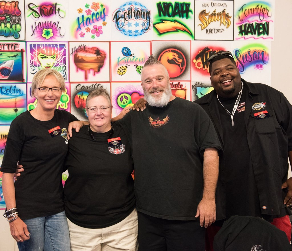 A TEAM! AIRBRUSH MASTERY instructors: From left, Cheryl Hayes Vaughn, Angie Harnage, Gary Worthington, and Donte Sly Curd. Jonathan Downing, also an important asset to the class, is missing in this shot.